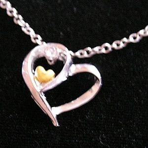 2 Tone Double Heart w/Rhinestone Necklace